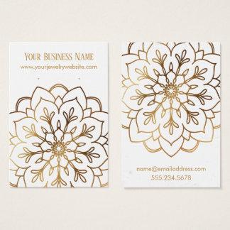 金ゴールドの曼荼羅及び白いイヤリングのホールダーの表示カード 名刺
