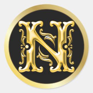 金ゴールドの最初のNの円形のステッカー ラウンドシール