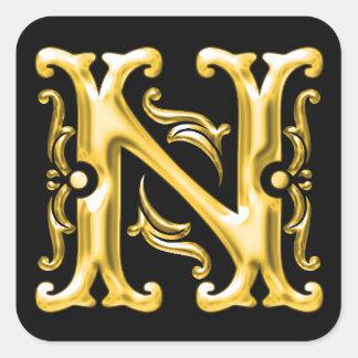 金ゴールドの最初のNの大文字のモノグラムのステッカー スクエアシール