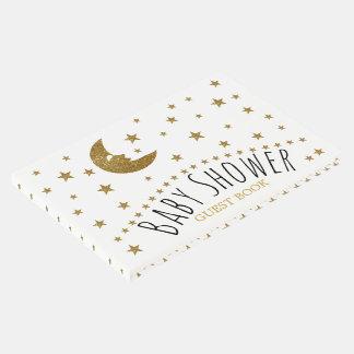 金ゴールドの月および星のベビーシャワー ゲストブック