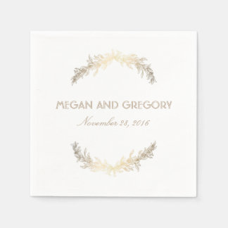 金ゴールドの月桂樹のエレガントで白い結婚式 スタンダードカクテルナプキン