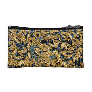 金ゴールドの月桂樹の葉 コスメティックバッグ