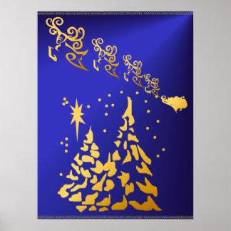 金ゴールドの木およびサンタのトナカイポスター ポスター