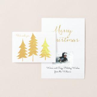 金ゴールドの木のクリスマスの願いのトリオ 箔カード