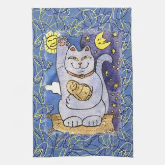 金ゴールドの枕の仏との青いNeko キッチンタオル