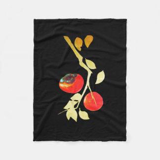 金ゴールドの枝が付いている柿 フリースブランケット
