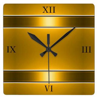 金ゴールドの柵 スクエア壁時計