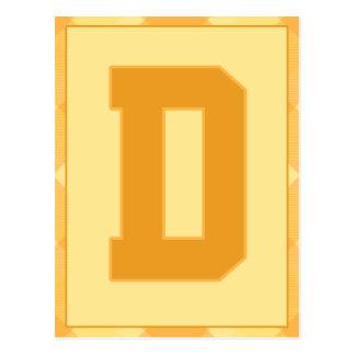 """金ゴールドの格子縞の手紙""""D""""のタイポグラフィの旗カード ポストカード"""