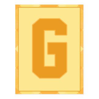"""金ゴールドの格子縞の手紙""""G""""のタイポグラフィの旗カード ポストカード"""