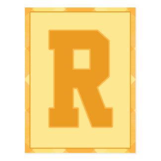 """金ゴールドの格子縞の手紙""""R""""のタイポグラフィの旗カード ポストカード"""