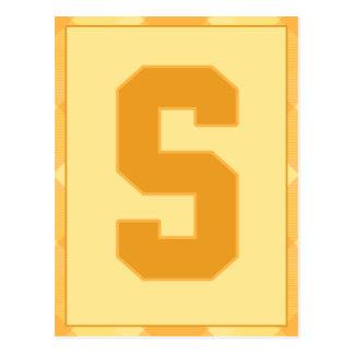 """金ゴールドの格子縞の手紙""""S""""のタイポグラフィの旗カード ポストカード"""
