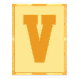 """金ゴールドの格子縞の手紙""""V""""のタイポグラフィの旗カード ポストカード"""