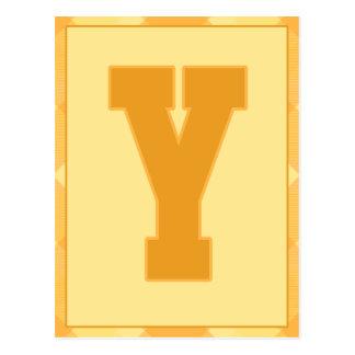 """金ゴールドの格子縞の手紙""""Y""""のタイポグラフィの旗カード ポストカード"""