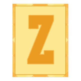 """金ゴールドの格子縞の手紙""""Z""""のタイポグラフィの旗カード ポストカード"""