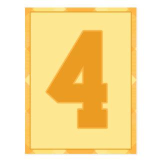 金ゴールドの格子縞の第4タイポグラフィの旗カード ポストカード