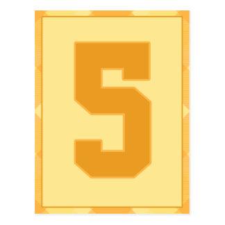 金ゴールドの格子縞の第5タイポグラフィの旗カード ポストカード