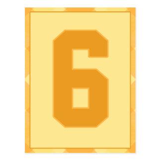 金ゴールドの格子縞の第6タイポグラフィの旗カード ポストカード