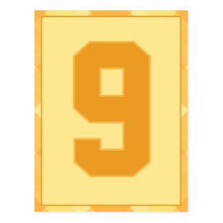金ゴールドの格子縞の第9タイポグラフィの旗カード ポストカード