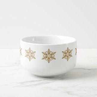 金ゴールドの模造のなグリッターの雪片 スープマグ