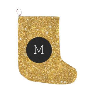 金ゴールドの模造のなグリッターパターンガーリーなモノグラム ラージクリスマスストッキング