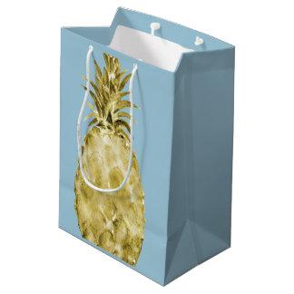 金ゴールドの水彩画のパイナップル ミディアムペーパーバッグ