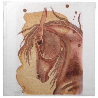 金ゴールドの水彩画の洗浄のクリの馬 ナプキンクロス
