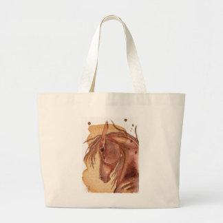 金ゴールドの水彩画の洗浄のクリの馬 ラージトートバッグ