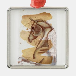 金ゴールドの水彩画の洗浄のPalominoの馬 メタルオーナメント