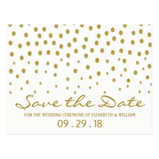 金ゴールドの水玉模様の結婚式の保存日付 ポストカード