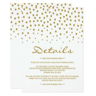 金ゴールドの水玉模様の結婚式の詳細 11.4 X 15.9 インビテーションカード