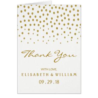 金ゴールドの水玉模様の結婚式は感謝していしています カード