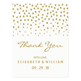 金ゴールドの水玉模様の結婚式は感謝していしています ポストカード