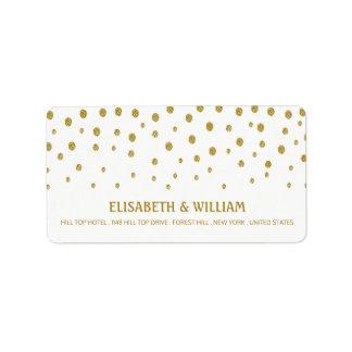 金ゴールドの水玉模様の結婚式 宛名ラベル