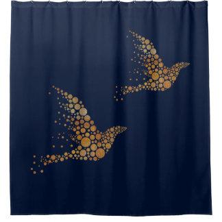 金ゴールドの泡鳥のシャワー・カーテン シャワーカーテン