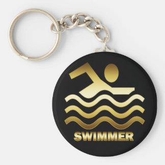 金ゴールドの泳ぐ人 キーホルダー