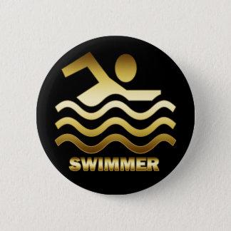 金ゴールドの泳ぐ人 5.7CM 丸型バッジ