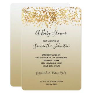 金ゴールドの派手な紙吹雪のグラデーションなベビーシャワー カード
