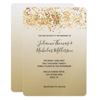 金ゴールドの派手な紙吹雪のグラデーションな結婚式 カード