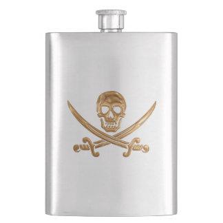 金ゴールドの海賊旗 フラスク