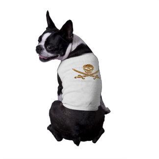 金ゴールドの海賊旗 ペット服