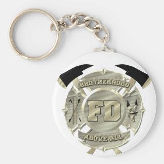金ゴールドの消防士の同業組合の記号 キーホルダー