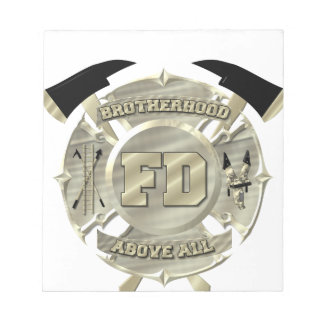 金ゴールドの消防士の同業組合の記号 ノートパッド