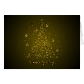 金ゴールドの渦巻のクリスマスツリー-季節の挨拶 カード