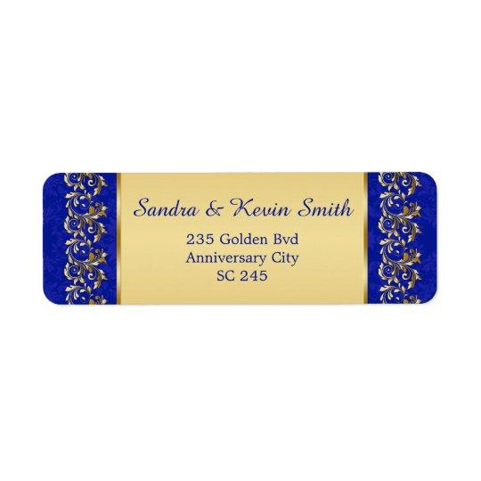 金ゴールドの渦巻第50の結婚記念日の住所シール ラベル