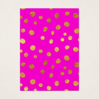 金ゴールドの点模造のなホイルのショッキングピンクのマゼンタパターン 名刺