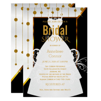 金ゴールドの点、白黒花嫁の招待状 カード