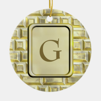 金ゴールドの煉瓦 セラミックオーナメント