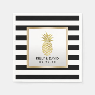 金ゴールドの熱帯パイナップルモダンのストライプな結婚式 スタンダードカクテルナプキン