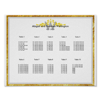 金ゴールドの王冠の結婚式の座席の図表 ポスター