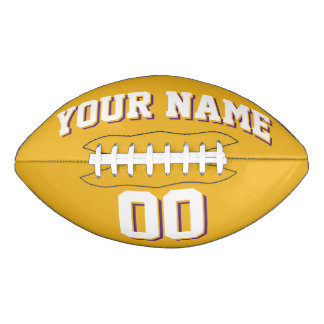 金ゴールドの白いおよび紫色のカスタムなフットボール アメリカンフットボール